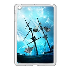 Underwater World With Shipwreck And Dolphin Apple iPad Mini Case (White)