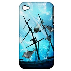 Underwater World With Shipwreck And Dolphin Apple iPhone 4/4S Hardshell Case (PC+Silicone)