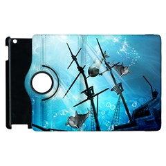 Underwater World With Shipwreck And Dolphin Apple iPad 3/4 Flip 360 Case