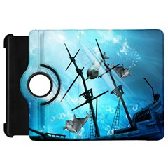 Underwater World With Shipwreck And Dolphin Kindle Fire HD Flip 360 Case