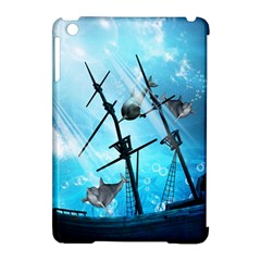 Underwater World With Shipwreck And Dolphin Apple iPad Mini Hardshell Case (Compatible with Smart Cover)