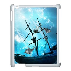 Underwater World With Shipwreck And Dolphin Apple iPad 3/4 Case (White)