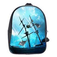 Underwater World With Shipwreck And Dolphin School Bags (XL)