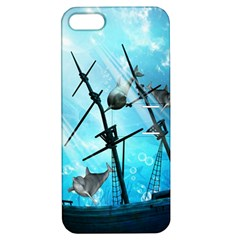 Underwater World With Shipwreck And Dolphin Apple iPhone 5 Hardshell Case with Stand