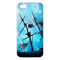Underwater World With Shipwreck And Dolphin Apple iPhone 5 Premium Hardshell Case