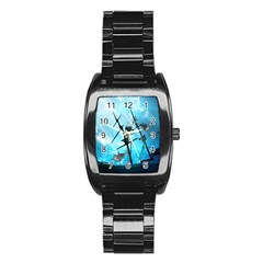 Underwater World With Shipwreck And Dolphin Stainless Steel Barrel Watch