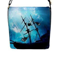 Underwater World With Shipwreck And Dolphin Flap Messenger Bag (L)