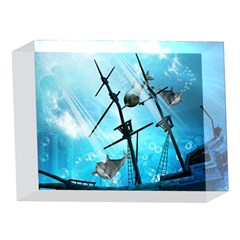 Underwater World With Shipwreck And Dolphin 5 x 7  Acrylic Photo Blocks