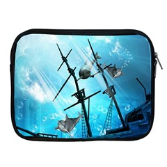 Underwater World With Shipwreck And Dolphin Apple iPad 2/3/4 Zipper Cases