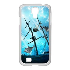 Underwater World With Shipwreck And Dolphin Samsung GALAXY S4 I9500/ I9505 Case (White)