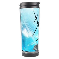 Underwater World With Shipwreck And Dolphin Travel Tumblers