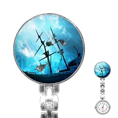 Underwater World With Shipwreck And Dolphin Stainless Steel Nurses Watches