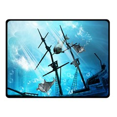 Underwater World With Shipwreck And Dolphin Double Sided Fleece Blanket (Small)