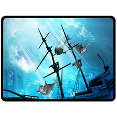 Underwater World With Shipwreck And Dolphin Double Sided Fleece Blanket (large)