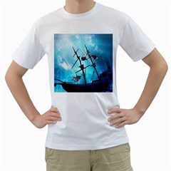 Underwater World With Shipwreck And Dolphin Men s T-Shirt (White)