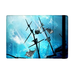 Underwater World With Shipwreck And Dolphin iPad Mini 2 Flip Cases