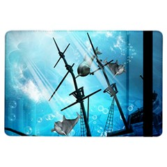 Underwater World With Shipwreck And Dolphin iPad Air Flip