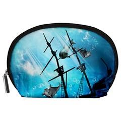 Underwater World With Shipwreck And Dolphin Accessory Pouches (Large)
