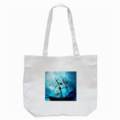 Underwater World With Shipwreck And Dolphin Tote Bag (White)