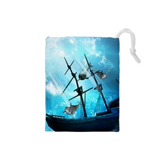 Underwater World With Shipwreck And Dolphin Drawstring Pouches (Small)