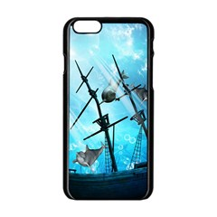 Underwater World With Shipwreck And Dolphin Apple iPhone 6/6S Black Enamel Case