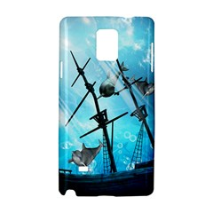 Underwater World With Shipwreck And Dolphin Samsung Galaxy Note 4 Hardshell Case