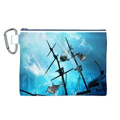 Underwater World With Shipwreck And Dolphin Canvas Cosmetic Bag (L)