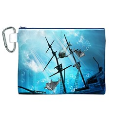 Underwater World With Shipwreck And Dolphin Canvas Cosmetic Bag (XL)