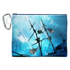 Underwater World With Shipwreck And Dolphin Canvas Cosmetic Bag (XXL)