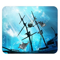 Underwater World With Shipwreck And Dolphin Double Sided Flano Blanket (Small)