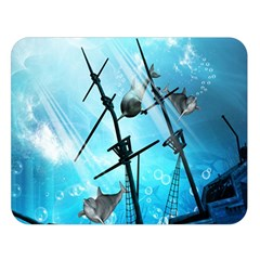 Underwater World With Shipwreck And Dolphin Double Sided Flano Blanket (large)