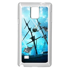 Underwater World With Shipwreck And Dolphin Samsung Galaxy Note 4 Case (White)