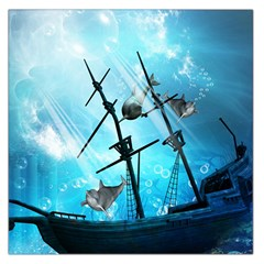 Underwater World With Shipwreck And Dolphin Large Satin Scarf (Square)