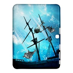 Underwater World With Shipwreck And Dolphin Samsung Galaxy Tab 4 (10.1 ) Hardshell Case