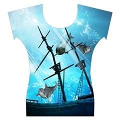 Underwater World With Shipwreck And Dolphin Women s Cap Sleeve Top