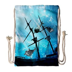 Underwater World With Shipwreck And Dolphin Drawstring Bag (Large)