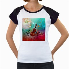 Violin With Violin Bow And Key Notes Women s Cap Sleeve T