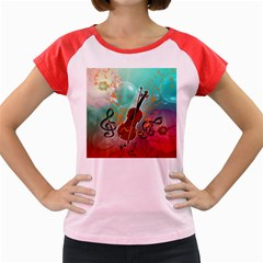 Violin With Violin Bow And Key Notes Women s Cap Sleeve T-Shirt