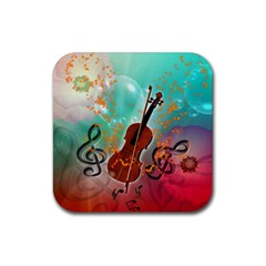 Violin With Violin Bow And Key Notes Rubber Coaster (Square)