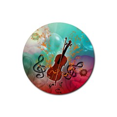 Violin With Violin Bow And Key Notes Rubber Round Coaster (4 pack)