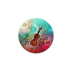 Violin With Violin Bow And Key Notes Golf Ball Marker