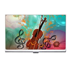 Violin With Violin Bow And Key Notes Business Card Holders