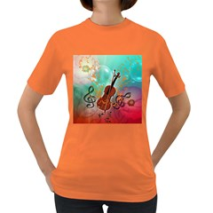 Violin With Violin Bow And Key Notes Women s Dark T-Shirt