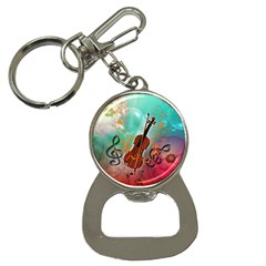 Violin With Violin Bow And Key Notes Bottle Opener Key Chains