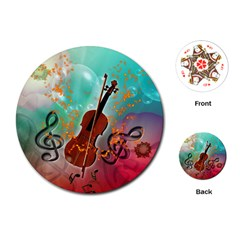 Violin With Violin Bow And Key Notes Playing Cards (Round)