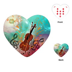 Violin With Violin Bow And Key Notes Playing Cards (Heart)