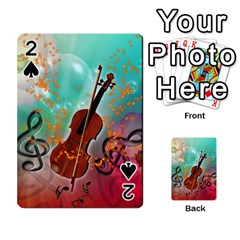 Violin With Violin Bow And Key Notes Playing Cards 54 Designs