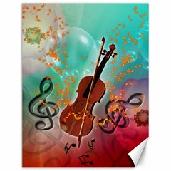Violin With Violin Bow And Key Notes Canvas 12  x 16