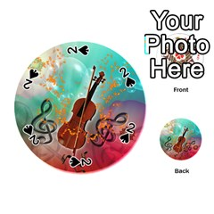 Violin With Violin Bow And Key Notes Playing Cards 54 (Round)