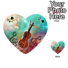 Violin With Violin Bow And Key Notes Playing Cards 54 (heart)